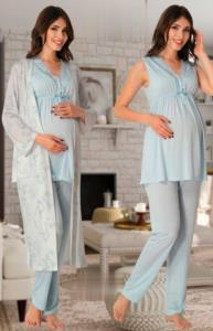 Effort Mavi Desenli Sabahlıklı Pijama Lohusa Set 8034