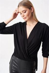 Sırtı Dantel Kruvaze Likra Bluz Siyah