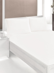 Gökyüzü Elegant Tek Kişilik Beyaz Lastikli Yatak Çarşaf Takımı