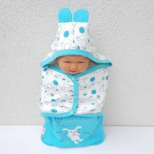 Tavşanlı Turkuaz Erkek Bebek Kundak Battaniye