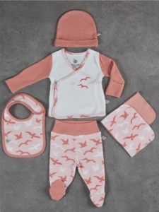 Ecocotton Organik Pamuk 5 Parça Bebek Zıbın Seti - Turna Beyaz-Somon