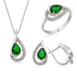 Gümüş Yeşil Drop Bayan Set