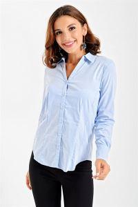 Uzun Kollu Slim Fit Likra Gömlek Bebe Mavi