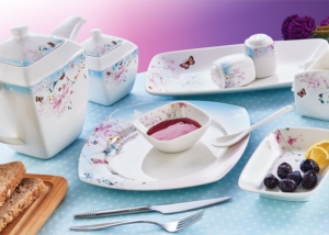 Evimsaray 46 Parça Fine Bone Kare Porselen Kahvaltı Takımı ES-462