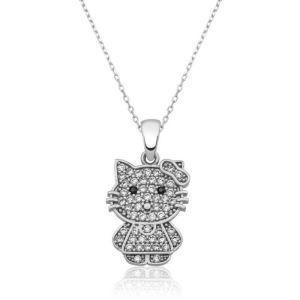 Gümüş Kedi Bayan Kolye