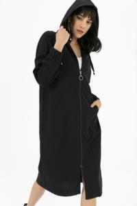 Saygı Kapşonlu Uzun Cup Siyah Tunik