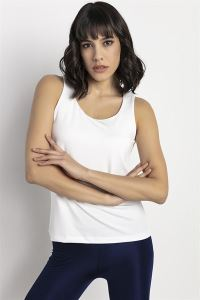 Yuvarlak Yaka Göğüs Kısmı Astarlı Sandy Polyester Likra Basic Atlet Krem