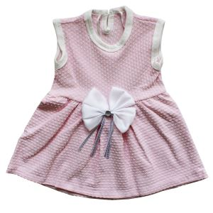 Pembe Beyaz Noktalı Kız Bebek Elbise
