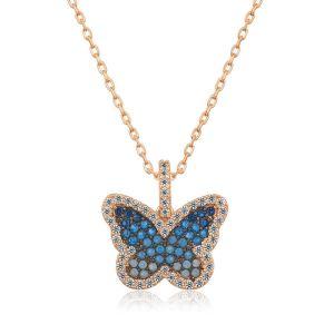 Gümüş Mavi Kelebek Bayan Kolye