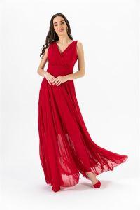 Kruvaze Yaka Şifon Abiye Elbise Kırmızı
