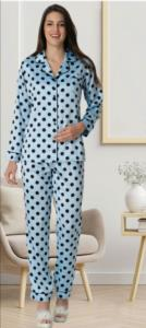 Carpediem Puantiyeli Saten Pijama Takımı- Mavi