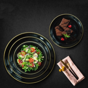 Bayev 24 Parça Yaldızlı Yemek Takımı-Siyah-800238