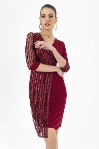 Kolu Pul Payet Elbise Bordo
