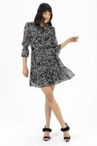 Saygı Fırfırlı Şifon Siyah Elbise