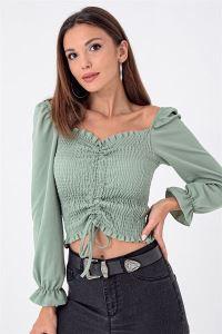 Önü Büzgülü Gipeli Bluz Mint