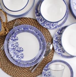 Asaf 24 Parça Porselen Mavi Çiçekli Yemek Takımı