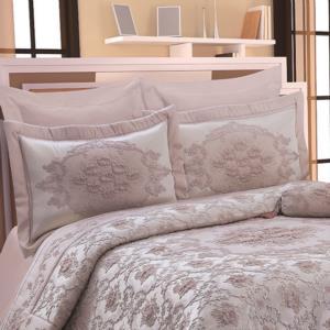 Hanedan Pano Yatak Örtüsü 4 Parça Pink/Si̇lver