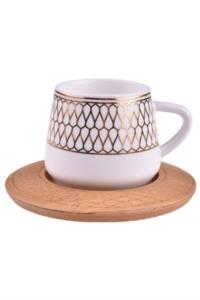 Bambum Hattat 6 Kişilik Kahve Takımı Desen Altlıklı B0931