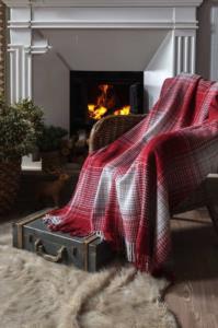 İyi Geceler İstanbul Winter Çift Kişilik Pamuklu Kırmızı Battaniye