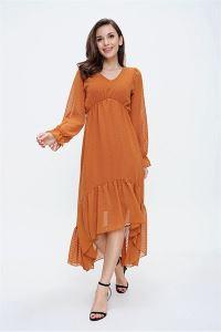 Önü Kısa Arkası Uzun Ponpon Detaylı Şifon Elbise Kiremit