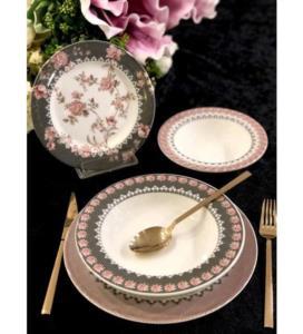 Roy Kıng Bloom Rose Porselen 24 Parça Yemek Takımı