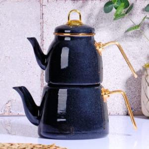 Kosova Granit Efektli Emaye Siyah Çaydanlık Takımı -GRANİT-06