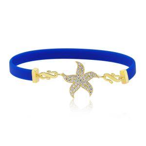 Gümüş Lacivert Deniz Yıldızı Bayan Bileklik