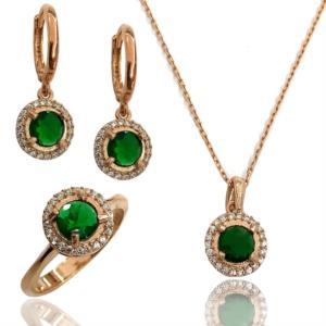 Midyat Yuvarlak Model Yaşil Taşlı Gümüş Bayan 3