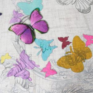 Prado Wellsoft Dijital Baskılı Kumaş Halı Örtüsü Mariposa HO33