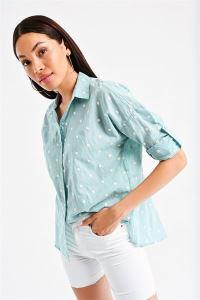 Puantiye Nakışlı Gömlek Mint