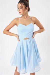 İp Askılı Bel Dekolteli Simli Abiye Elbise Bebe Mavi