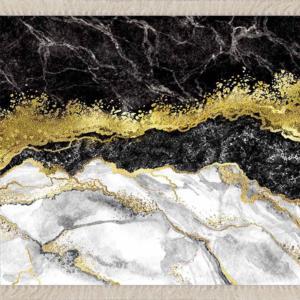Meg Cloud Mermer Desenli Gold Dijital Kaymaz Taban Halı MEG233S