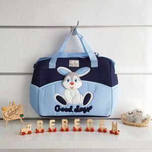 Tavşan Kabartmalı Bebek Çantası Mavi