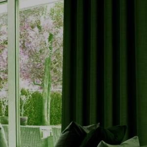 Belle Cose Keten Görünümlü Tek Kanat Yeşil Fon Perde