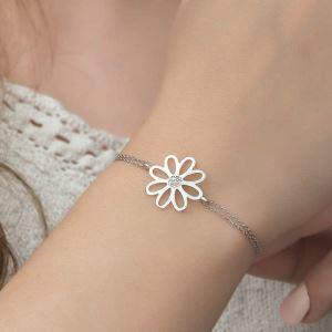 Gümüş Çiçek Bayan Bileklik