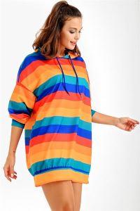 Enine Çizgili Kapüşonlu Oversize Sweat Elbise Oranj