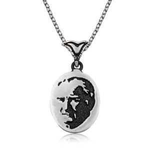 Gümüş Atatürk Silüeti Kolye