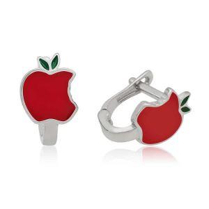 Gümüş Kırmızı Elma Çocuk Küpesi