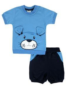 Civil Baby Erkek Bebek Şortlu Takım Takım 6-18 Ay Mavi