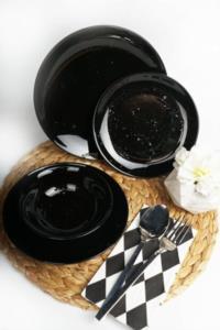 Asaf 24 Parça Porselen Yemek Takımı Antik Siyah
