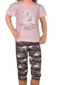 Nicoletta Pembe Kız Çocuk Kısa Kol Kapri Pijama Takımı