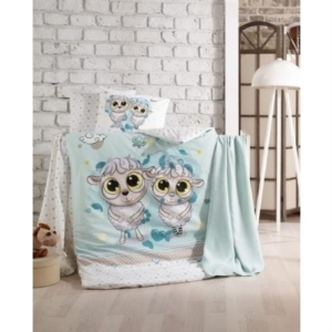Taç Kristal Bebek Nevresim Takımı Happy Lambs Blue