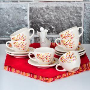 Keramika Sonbahar Tomurcuk Çay Takımı 12 Parça 6 Kişilik