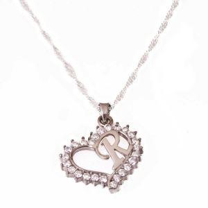 Gümüş R Harfi Kalpli Bayan Kolye