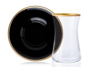 Valery 12 Parça Siyah/Gold Çay Seti