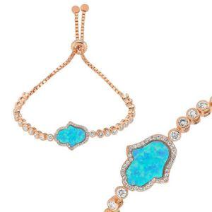 Gümüş Mavi Opal Fatma Eli Asansör Bileklik