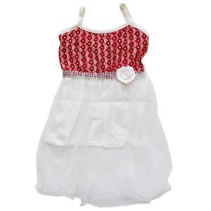 Kırmızı Çiçekli Beyaz Tüllü Kız Bebek Elbise