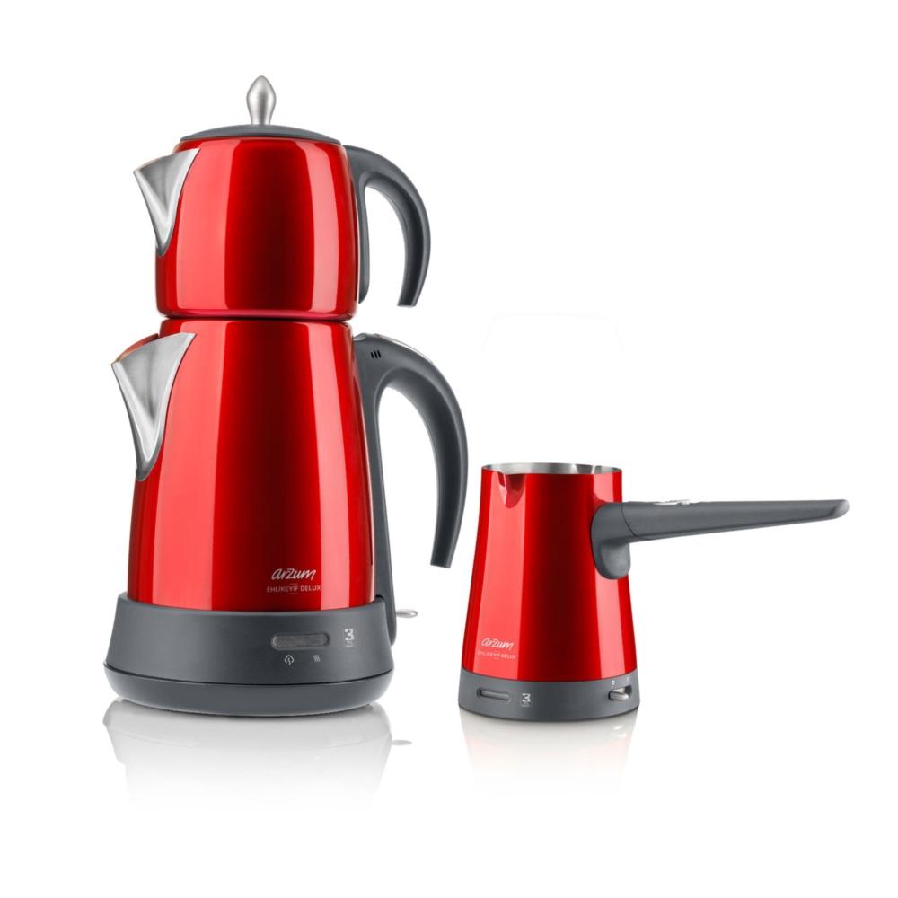 Arzum Ehlikeyif Delux Çay ve Kahve Makinesi Seti AR3008 Nar - Alkapida.com