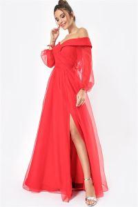 Madonna Yaka Önü Yırtmaçlı Astarlı Organze Uzun Abiye Elbise Kırmızı