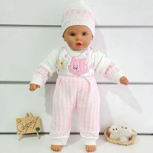 Fil Desenli Triko 3 lü Kız Bebek Takım